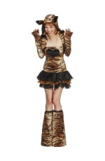 Fever Sexy Tiger Animal Jungle Zoo Bodysuit Catsuit Womens Ladies Fancy Dress Costume