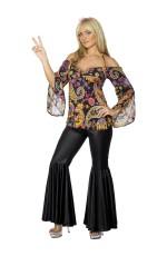 Ladies 60s 70s Go Go Retro Hippie Dancing Groovy Disco Fancy Dress Costume