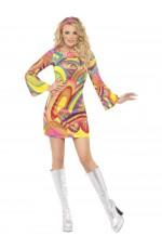 Ladies Flower Power 60s 70s Go Go Retro Hippie Groovy Hippy Disco Fancy Dress Costume