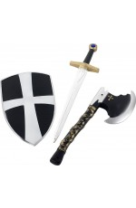 Accessories - Kids Boys 3 Piece Crusader Set Shield Sword & Axe 50cm Smiffys Medieval Gothic Costume Fancy Dress Accessories