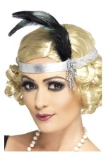 1920s Silver Satin Flapper Charleston headband Elasticated Headpiece Ladies Costume Accessories