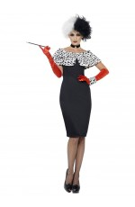 Ladies Evil Madame Cruella De Vil 101 Dalmations Costume