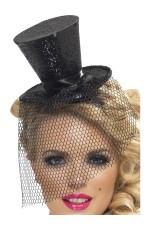 Ladies Fever Black Mini Top Hat on Headband Halloween Fancy Dress  Adult Womens Costume Accessory