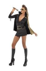 Adult Womens Ladies Black Elvis Presley Viva Las Vegas Fancy Dress Licensed 50s Costume