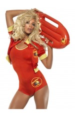 Licensed Ladies Baywatch Beach Lifeguard Uniform Smiffys Fancy Dress Costume Outfits with Float