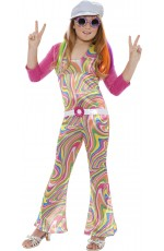 Girls Hippy Costume Childs 60s 70s Groovy Glam Fancy Dress Disco Hippie Outfit 1960s 1970s