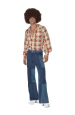 Mens 70s 1970s Flares Patchwork Denim Trousers Fancy Dress Disco Dancer Pants Costume