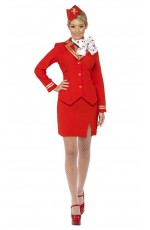 Ladies Red Trolley Dolly Virgin Air Hostess Stewardess Cabin Crew Flight Attendant Air Line Pilot Fancy Dress Costume