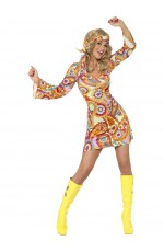 60s 70s Hippy Chick Lady Costume 1960s Psychedelic Hippie Fancy Dress Groovy Lady Hippy Flower Power Ladies Outfit