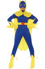 Female Licensed Bananaman Costume Fancy Dress Cartoon Superhero Super Hero Outfit