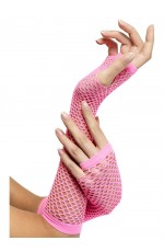 Fishnet Gloves, Long, Pink cs34876