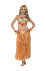 Adults Hula Honey Instant Kit Hawaiian 5pc Fancy Dress Grass Skirt Luau Outfit Smiffys Fancy Dress Costume Outfit Accessories