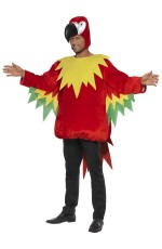 Adult Polly the Parrot Fancy Dress Funny Sports Mascot Party Costume Standard Unisex