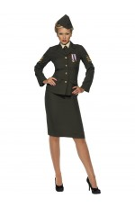 Womens Wartime Officer Army Military Uniform Fancy Dress Costume Outfit Retro 40s 1940s Army WW2 Officer Ladies Vintage