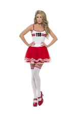 Ladies Red & white Marathon Woman Instant Kit Fancy Dress Costume