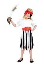 Pirate Girl Kids Fancy Dress Caribbean High Seas Buccanneer Halloween Book Week Party Costume