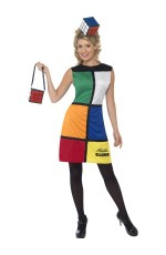 Adults Womens Rubik's Cube With Headband Halloween Fancy Dress Costume With Bag