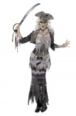 Womens Zombie Ghost Ship Ghoulina Pirate Halloween Fancy Dress Up Costume