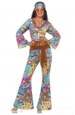 Ladies Flower Power 60s 70s Retro Hippie Go Go Girl Disco Licensed Costume Fancy Dress Hen Xmas Party