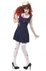 Smiffys High School Horror Zombie College Student Schoolgirl Sexy Outfit Costume Halloween Fancy Dress With Hat