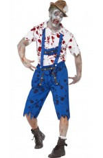 Zombie Bavarian Male Costume Lederhosen Shorts with Braces Halloween Fancy Dress Outfit German Oktoberfest Adult Horror