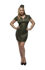 Ladies Police Cop Uniform Army Soldier Wartime Green Dress Costume
