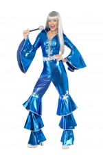 Licensed 1970s 70s 1980s 80s Dancing Dream Disco Queen Blue Lame Costume Adult Fancy Dress Pop Abba Tribute Retro Outfits Catsuit Lace Up Jumpsuit