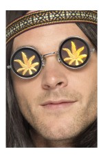 Adult Holographic Marijuana Glasses 1960s 60s Groovy Hippie 70s Hippy Hippie Costume Accessories