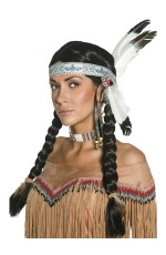Native American Indian Maiden Pocahontas Wig With Plaits Braid With Feather