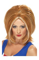 Spice Girls Ginger Girl Bob Power Womens Wig Blonde 90s Pop Star Fancy Dress Costume Accessory