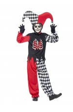 Blood Curdling Jester Mardi Gras Boys Halloween Clown Book Week Costume Horror Outfit