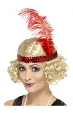 Blonde Charleston Wig & Red Feather Headband Flapper 20s Gatsby Fancy Dress Ladies Costume Accessories
