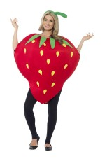 Strawberry Costume Ladies Mens Unisex Novelty Fruit Fancy Dress Outfit One Size