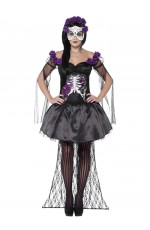 Ladies Mexican Day Of The Dead Skull Skeleton Spanish Fancy Dress Senorita Halloween Costume