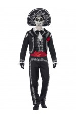 Mens Day Of The Dead Costume Halloween Skeleton Mexican Bond Fancy Dress Outfit