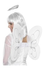 Angel Fairy Wings & Halo Kit Bachelorette Hens Halloween Party Ladies Costume Accessories