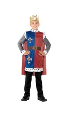 Kids King Arthur Prince Deluxe Medieval Knight Historical Fancy Dress Costume Outift Tunic