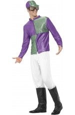 Purple Green Jockey Horse Racing Rider Mens Uniform Fancy Dress Costume Outfit Hat