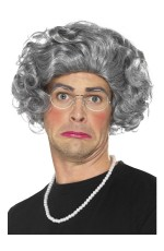 Granny Old Lady Grandma Grey Hair Wig Grandmother Wig Pearls Glasses Costume Kit Costume Accessory