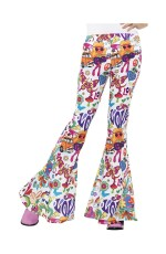 Womens 60s 70s Go Go Retro Hippie Disco Groovy Flared Trousers Pants Costume