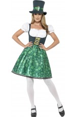 Ladies Lucky Irish Green Leprechaun Lass Costume St Patricks Day Halloween Party Outfit Oktoberfest