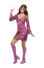 Adult Womens Woodstock Hippie Chick Costume 60s Groovy Hippy Smiffys Fancy Dress