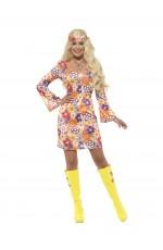 Ladies Flower Girl 60s 70s Go Go Retro Hippie Groovy Hippy Disco Fancy Dress Costume