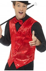 Adult Sequin Vest Waistcoat Dance Party Show Costume Mens Cabaret Fancy Dress Showtime Red Tv Presenter Stag Night