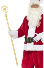 Extendable Crozier Staff Christmas Nativity King Santa Gold Prop Bishop Fancy Dress Costume Accessory