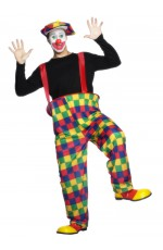 Hooped Crazy Funny Clown Costume Circus Fancy Dress Mens Outfit With Hat