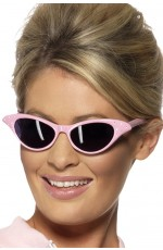 Flyaway Style Rock and Roll Pink Diamante Sunglasses 1950s 50s Fancy Dress Accessory