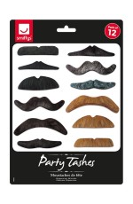70s Party Tashes 12 Pack Costume Accessory cs99062