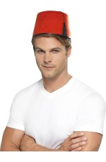 Adult Red Fez Tarboosh Hat Moroccan Turkish Aladdin