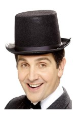 Black Tall Top Hat Adult Mens Gents Unisex Velour Topper Victorian Costume Accessory